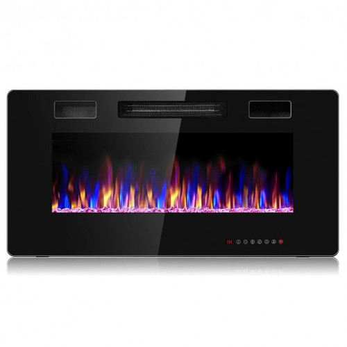 """36"""" Recessed Ultra Thin Wall Mounted Electric Fireplace w/12 Flame Colors"""