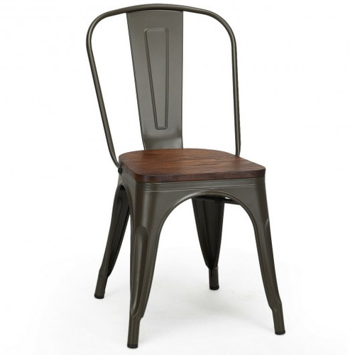 18 Inch Height Set of 4 Stackable Style Metal Wood Dining Chair-Gun