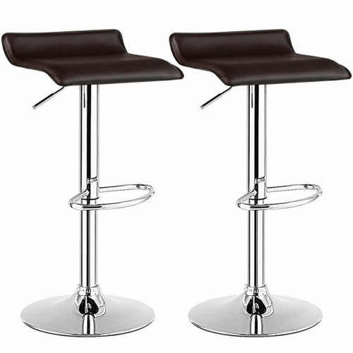 Set of 2 Adjustable Faux Leather Backless Bar Stools-Coffee