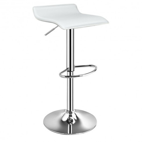 Set of 2 Adjustable Faux Leather Backless Bar Stools-White