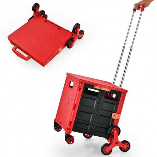 Foldable Utility Cart for Travel & Shopping-Red