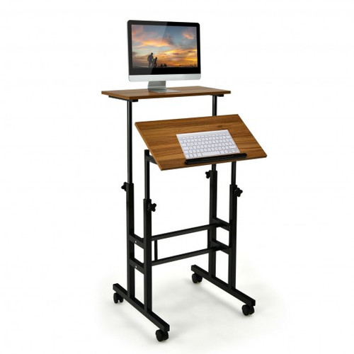 Height Adjustable Mobile Standing Desk w/rolling wheels for office & home-Walnut