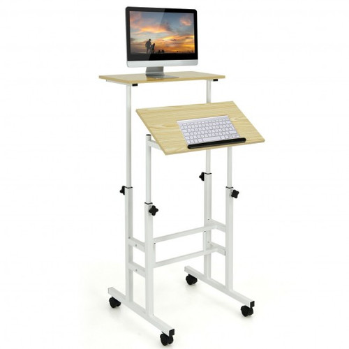 Height Adjustable Mobile Standing Desk w/rolling wheels for office & home-Natural