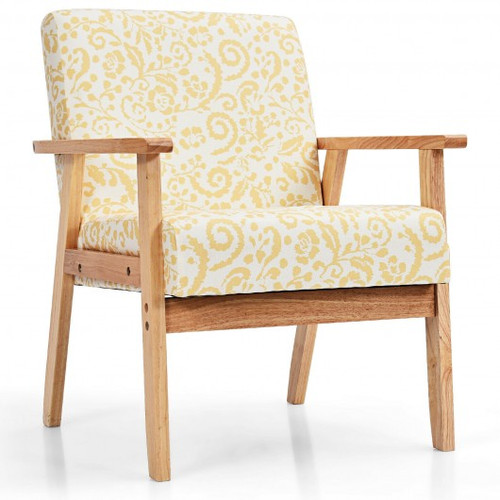 Modern Accent Armchair Fabric Lounge Chair w/Rubber Wood Leg-Yellow