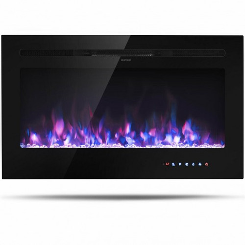 """36"""" Electric Wall Mounted Ultrathin Fireplace w/Touch Screen & Timer"""