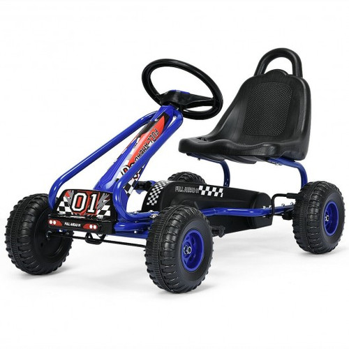 4 Wheel Pedal Powered Ride On w/Adjustable Seat-Blue