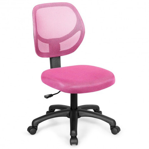 Low-back Computer Task Office Desk Chair w/Swivel Casters-Pink