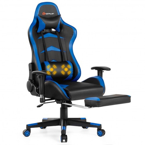 Massage Gaming Chair w/Footrest-Blue