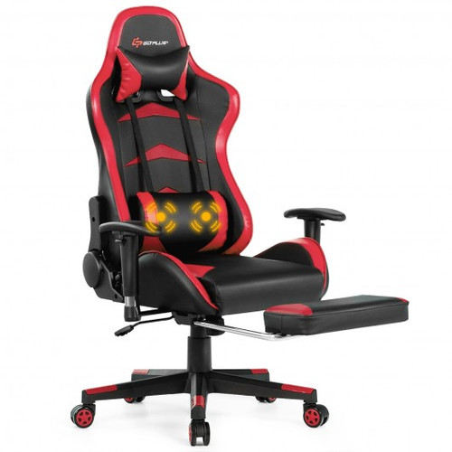 Massage Gaming Chair w/Footrest-Red