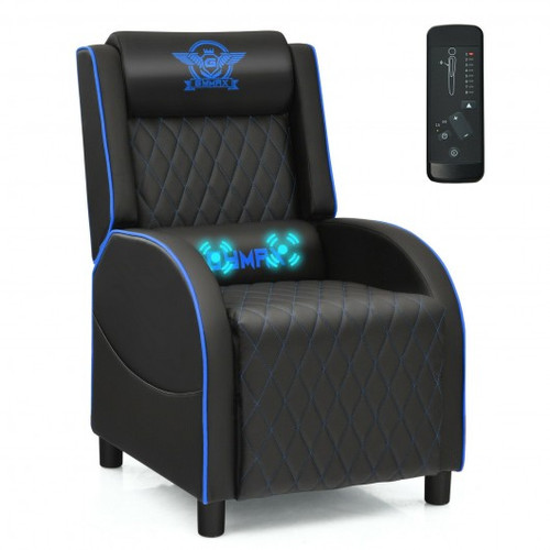 Massage Gaming Recliner Chair w/Headrest & Adjustable Backrest for Home Theater-Blue