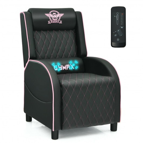 Massage Gaming Recliner Chair w/Headrest & Adjustable Backrest for Home Theater-Pink
