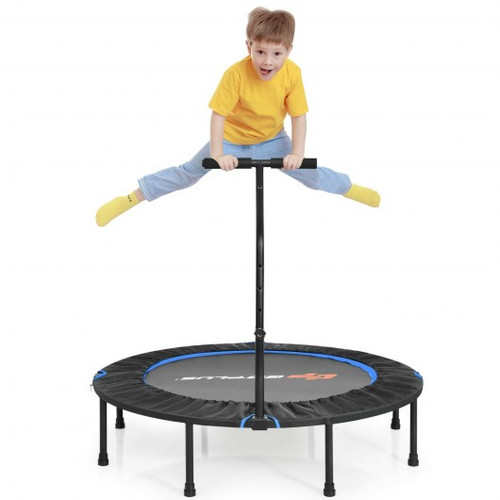 """47"""" Folding Trampoline Fitness Exercise Rebound w/Handle for Adults & Children-Blue"""