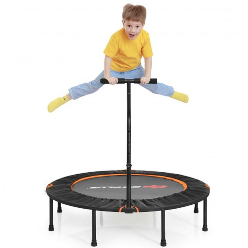 """47"""" Folding Trampoline Fitness Exercise Rebound w/Handle for Adults & Children-Orange"""