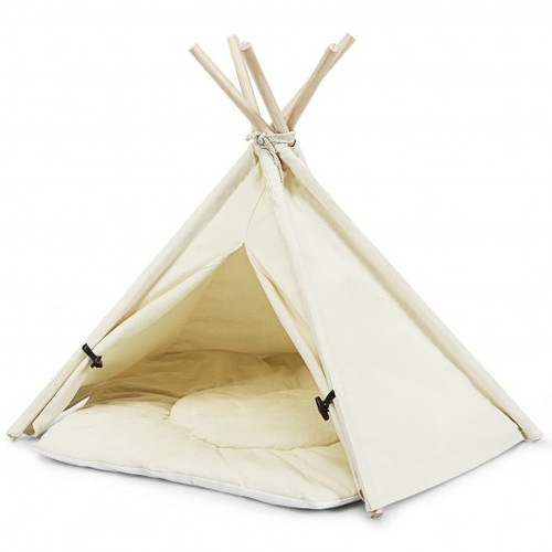 Indoor Pet Teepee Dog Puppy Cat Bed Portable Canvas Tent & House w/Cushion
