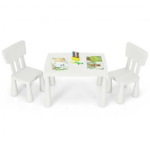 3-Piece Toddler Multi Activity Play Dining Study Children Table & Chair Set-White