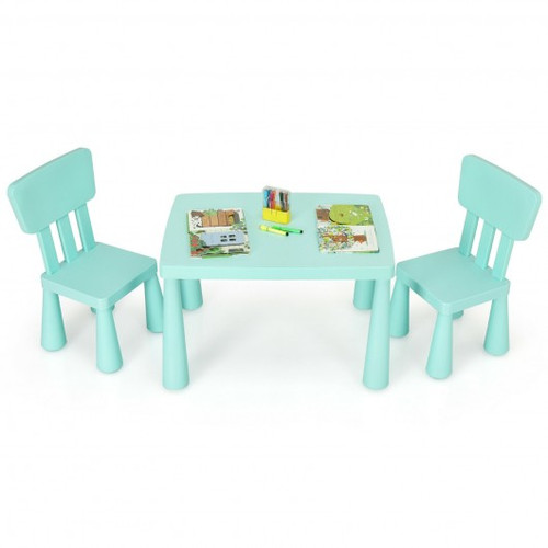 3-Piece Toddler Multi Activity Play Dining Study Children Table & Chair Set-Green