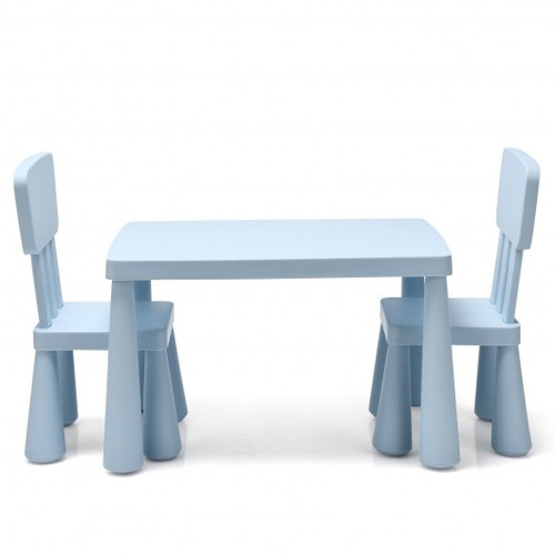 3-Piece Toddler Multi Activity Play Dining Study Children Table & Chair Set-Blue