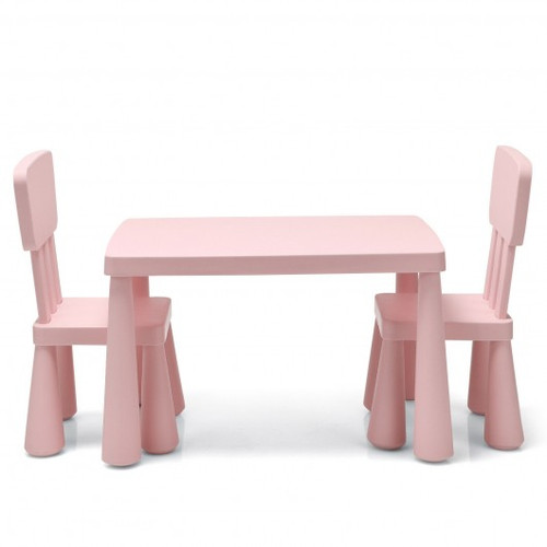 3-Piece Toddler Multi Activity Play Dining Study Children Table & Chair Set-Pink
