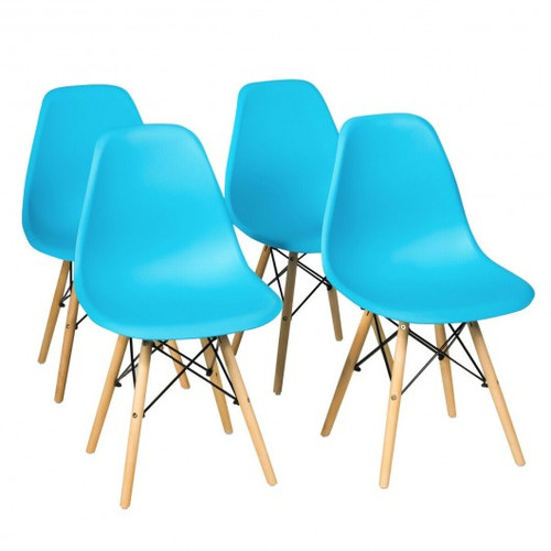 Set of 4 Mid Century Modern Dining Chairs w/Wooden Legs-Blue