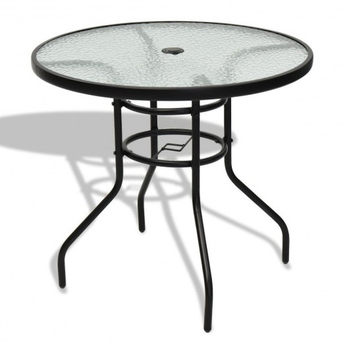 """32"""" Patio Tempered Glass Steel Frame Round Table w/Convenient Umbrella Hole"""