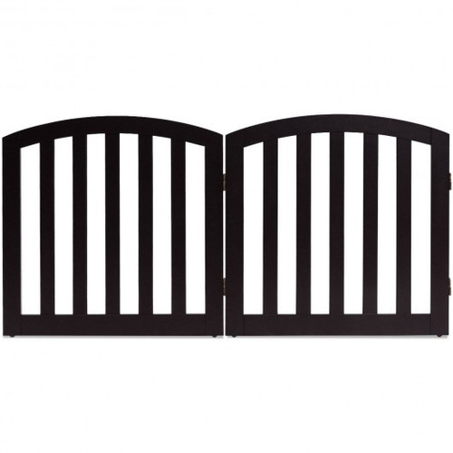 """24"""" 2 Panel Configurable Folding Free Standing Wooden Pet Safety Fence w/Arched Top-Brown-A"""