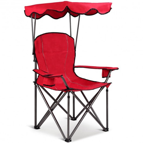 Portable Folding Beach Canopy Chair w/Cup Holders-Red