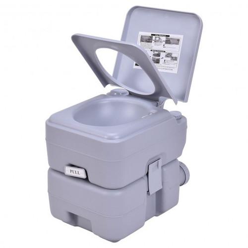 5 Gallon 20 L Outdoor/ Indoor Potty Commode Portable Flush Toilet-Gray