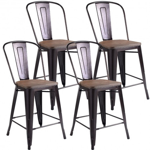 Set of 4 Industrial Metal Counter Stool Dining Chairs w/Removable Backrest-Cooper