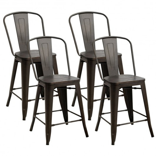 Set of 4 Industrial Metal Counter Stool Dining Chairs w/Removable Backrest-Gun