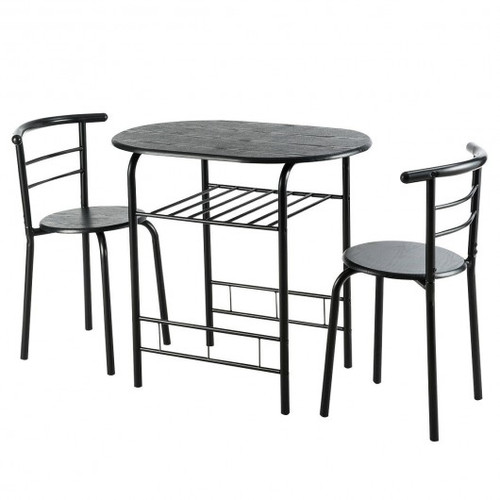 3pc Home Kitchen Bistro Pub Dining Table 2 Chairs Set-Black