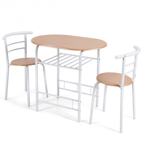 3pc Home Kitchen Bistro Pub Dining Table 2 Chairs Set-Tan