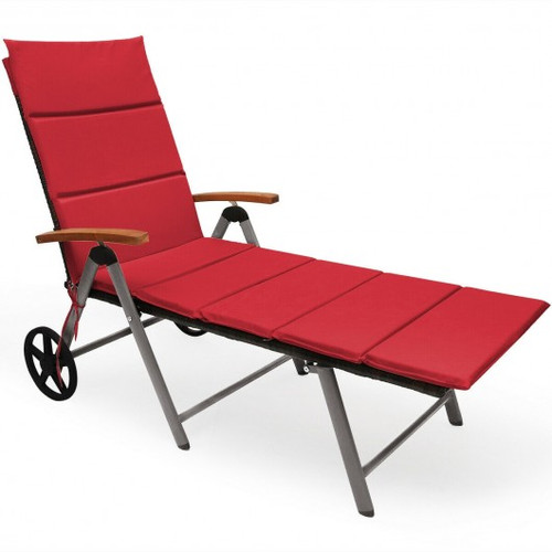Outdoor Chaise Lounge Chair Rattan Lounger Recliner Chair-Red