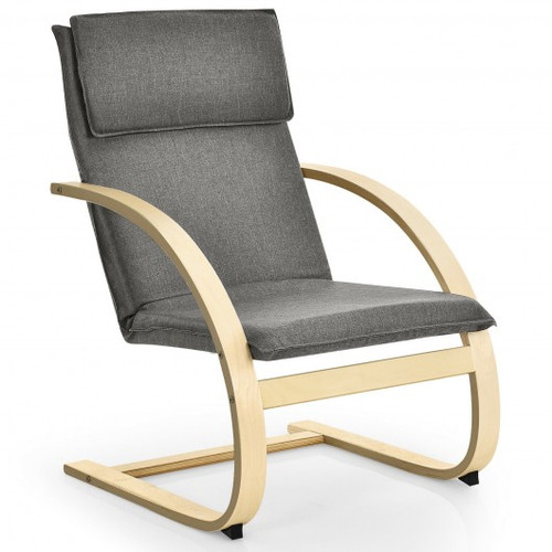 Modern Fabric Upholstered Bentwood Lounge Chair-Gray
