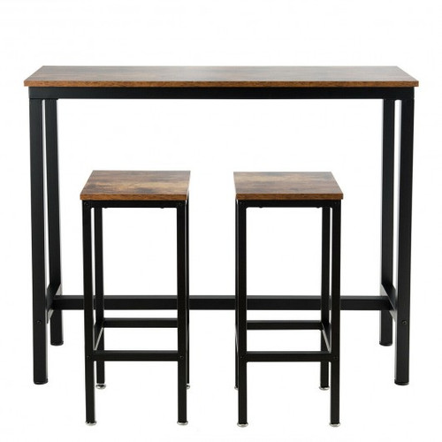 3pc  Bar Table Counter Breakfast Bar Dining Table w/Stools-Brown