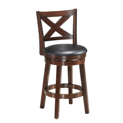 """Swivel X-back Upholstered Counter Height Bar Stool w/PVC Cushioned Seat-24"""""""
