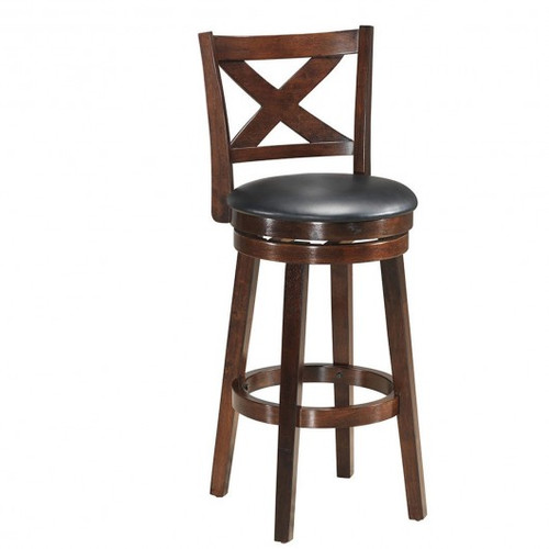 """Swivel X-back Upholstered Counter Height Bar Stool w/PVC Cushioned Seat-29"""""""