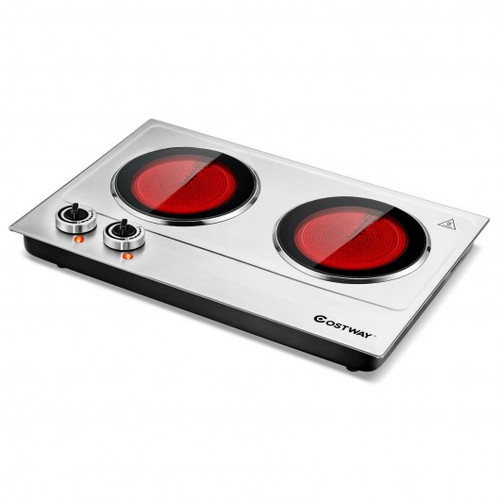 1800W Stainless Steel Infrared Cooktop w/Non-slipping Feet & Adjustable Temperature