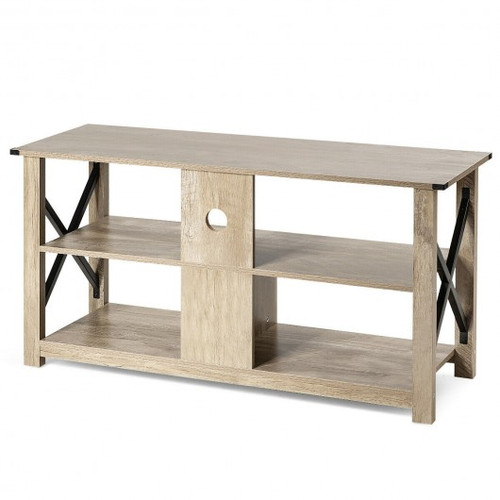 """Modern Farmhouse TV Stand Entertainment Center for TV's up to 55"""" w/Open Shelves"""