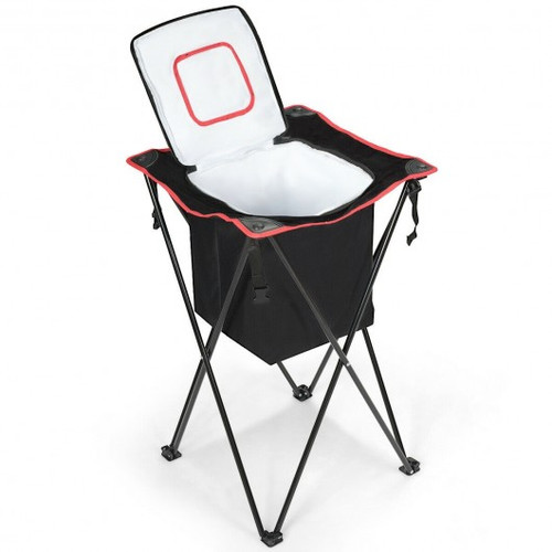 Portable Tub Cooler w/Folding Stand & Carry Bag-Black