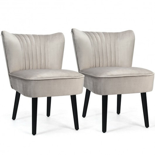 Set of 2 Armless Upholstered Leisure Accent Chair-Brown