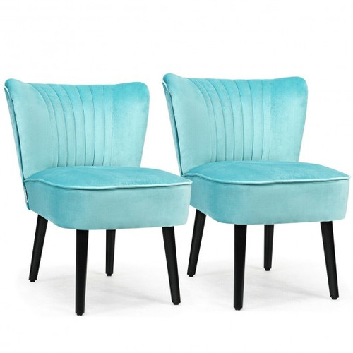 Set of 2 Armless Upholstered Leisure Accent Chair-Turquoise