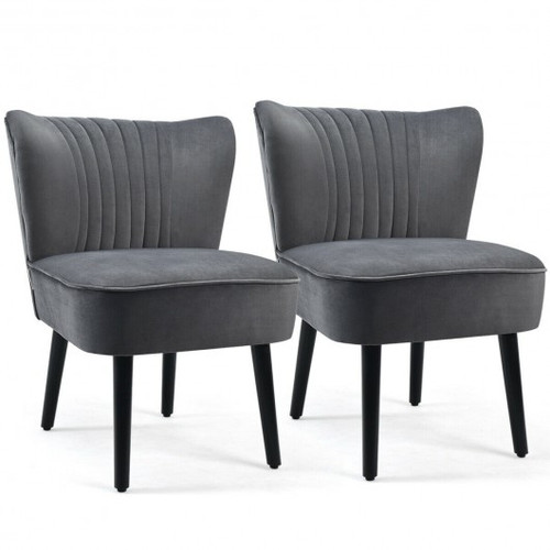 Set of 2 Armless Upholstered Leisure Accent Chair-Gray