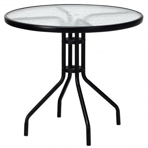 """32"""" Outdoor Patio Round Tempered Glass Top Table w/Umbrella Hole"""