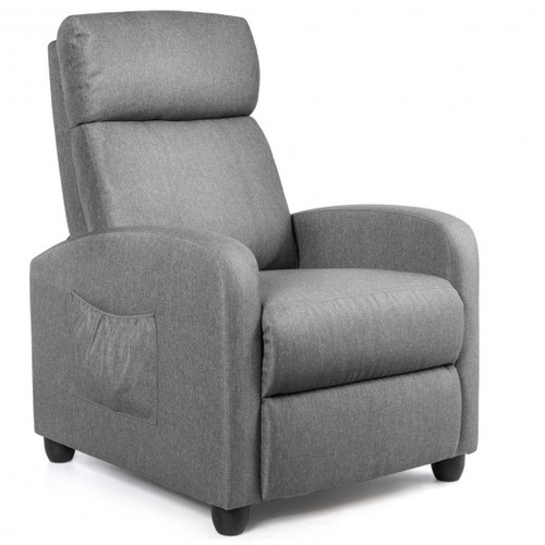 Recliner Sofa Wingback Chair w/Massage Function-Gray