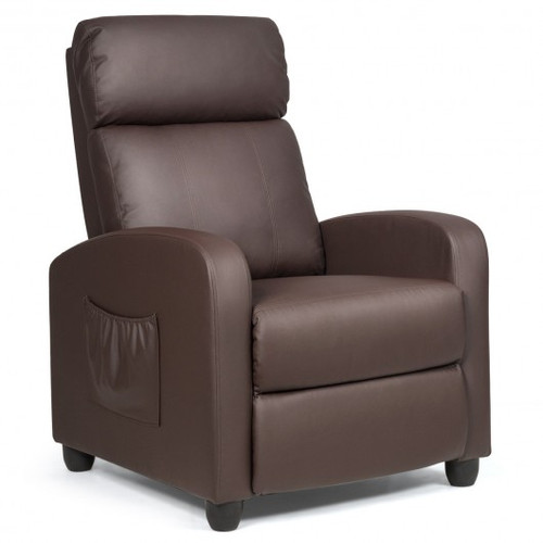 Recliner Sofa Wingback Chair w/Massage Function-Brown