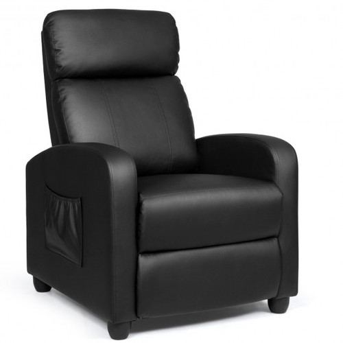 Recliner Sofa Wingback Chair w/Massage Function-Black