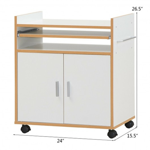 Rolling Kitchen Trolley Microwave Cart Storage Cabinet w/Removable Shelf