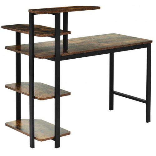 Computer Desk Writing Study Table w/Storage Shelves Home Office Rustic Brown-Rustic Brown