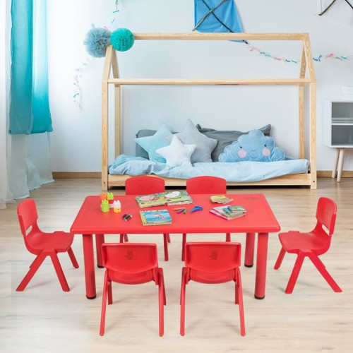 6-pack Children Plastic Stackable Classroom Chairs-Red