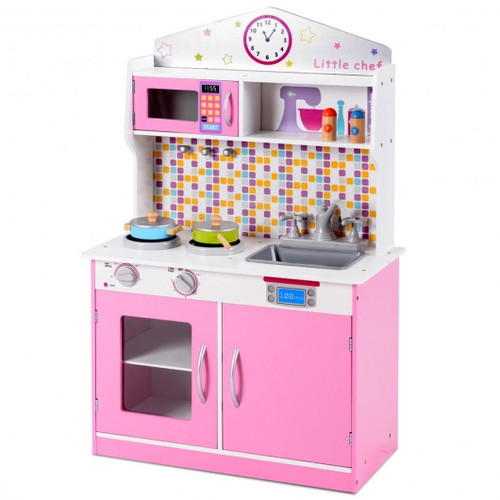 Children's Wooden Pretend Cooking Playset Cookware Play Set Kitchen Toys Toddler Gift-Pink